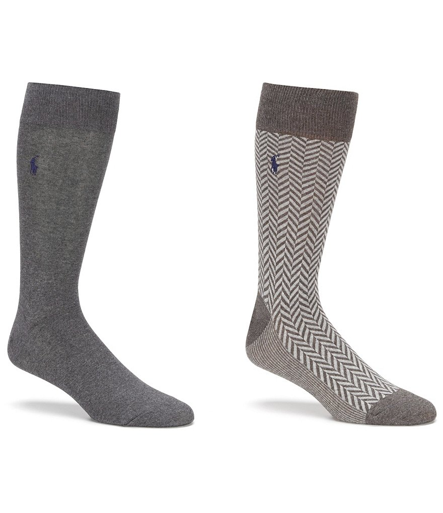 Polo Ralph Lauren Herringbone Crew Dress Socks 2-Pack