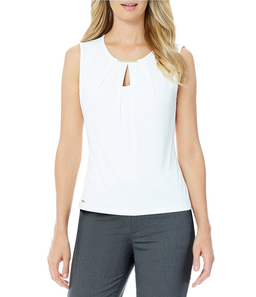 Calvin Klein Petite Pleated Jersey Shell Top