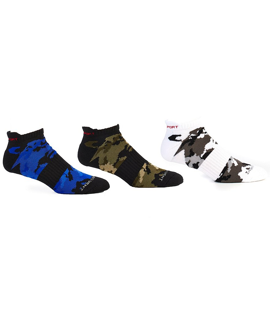 Polo Ralph Lauren Sport Camo Tipped Ankle Socks 3-Pack