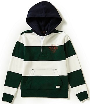 Ralph Lauren Childrenswear Big Boys 8-20 Fleece Rugby-Stripe Hoodie