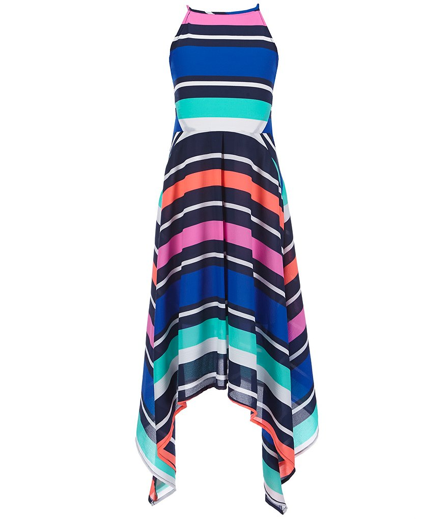 GB Girls Big Girls 7-16 Stripe Halter Maxi Dress