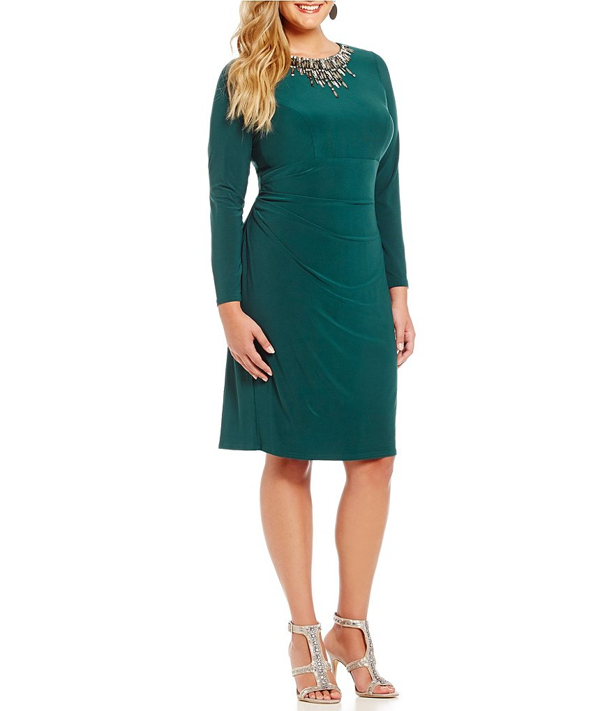Vince Camuto Plus Long Sleeve with Beaded Neckline Sheath Dress
