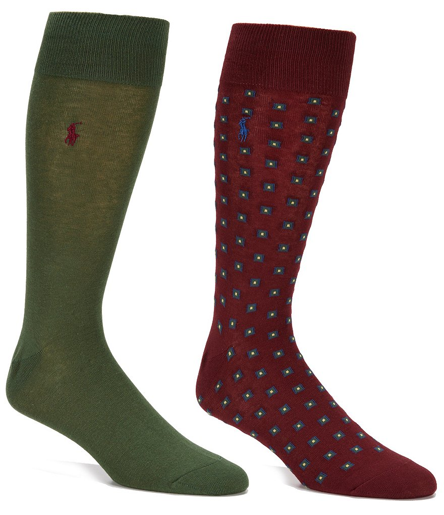 Polo Ralph Lauren Square Foulard Crew Dress Socks 2-Pack