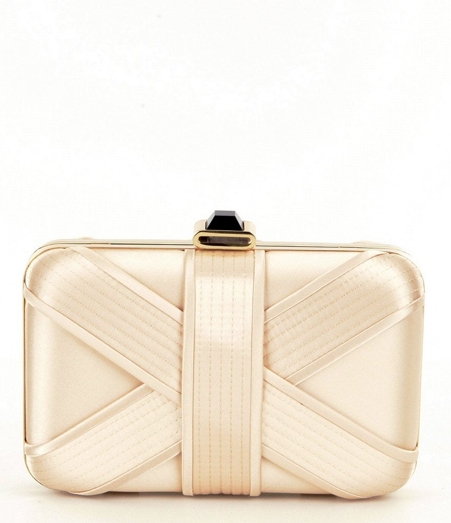 Kate Landry Paneled Satin Frame Clutch