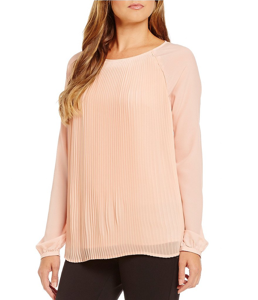 Calvin Klein Pleated Georgette Long Sleeve Blouse