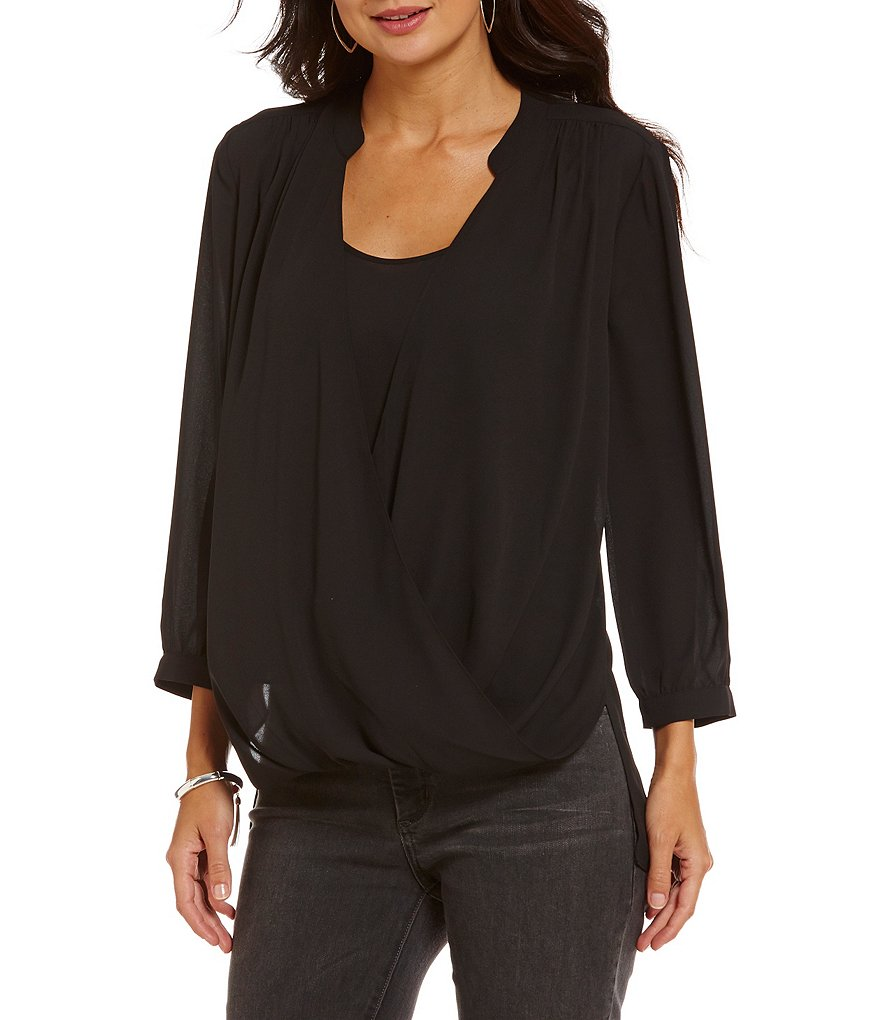 NYDJ Drape Front 3/4 Sleeve Solid Blouse
