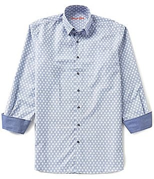 Visconti Big & Tall Diamond-Print Dobby Woven Shirt