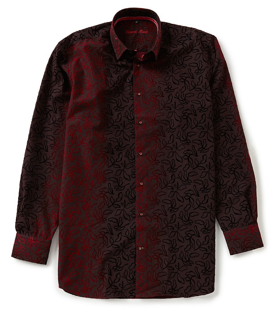 Visconti Big & Tall Patterned Long-Sleeve Woven Shirt