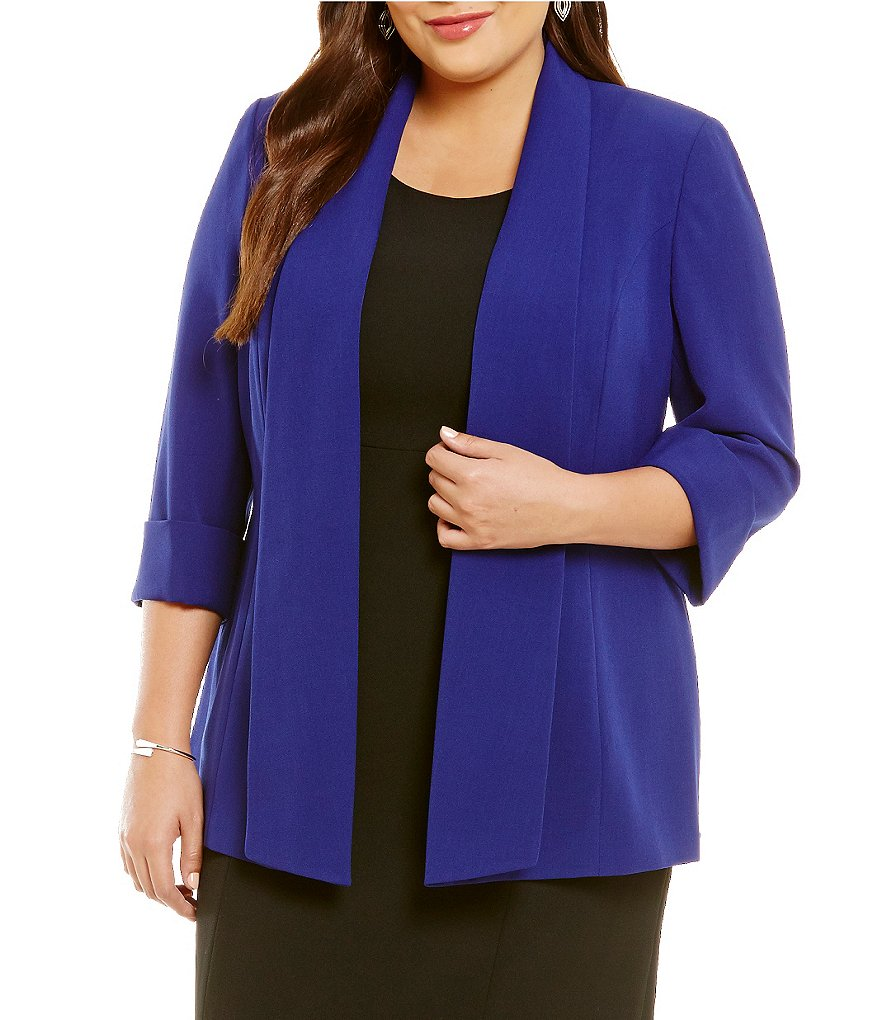 Kasper Plus Stretch Crepe Wide Lapel Topper Jacket