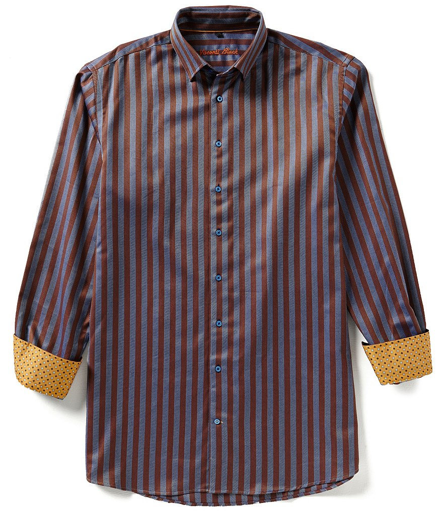 Visconti Big & Tall Twill Striped Long-Sleeve Woven Shirt