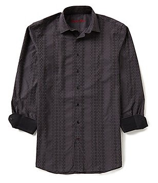 Visconti Big & Tall Circle Jacquard Long-Sleeve Woven Shirt