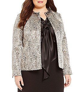 Kasper Plus Open Front Metallic Jacquard Jacket Image