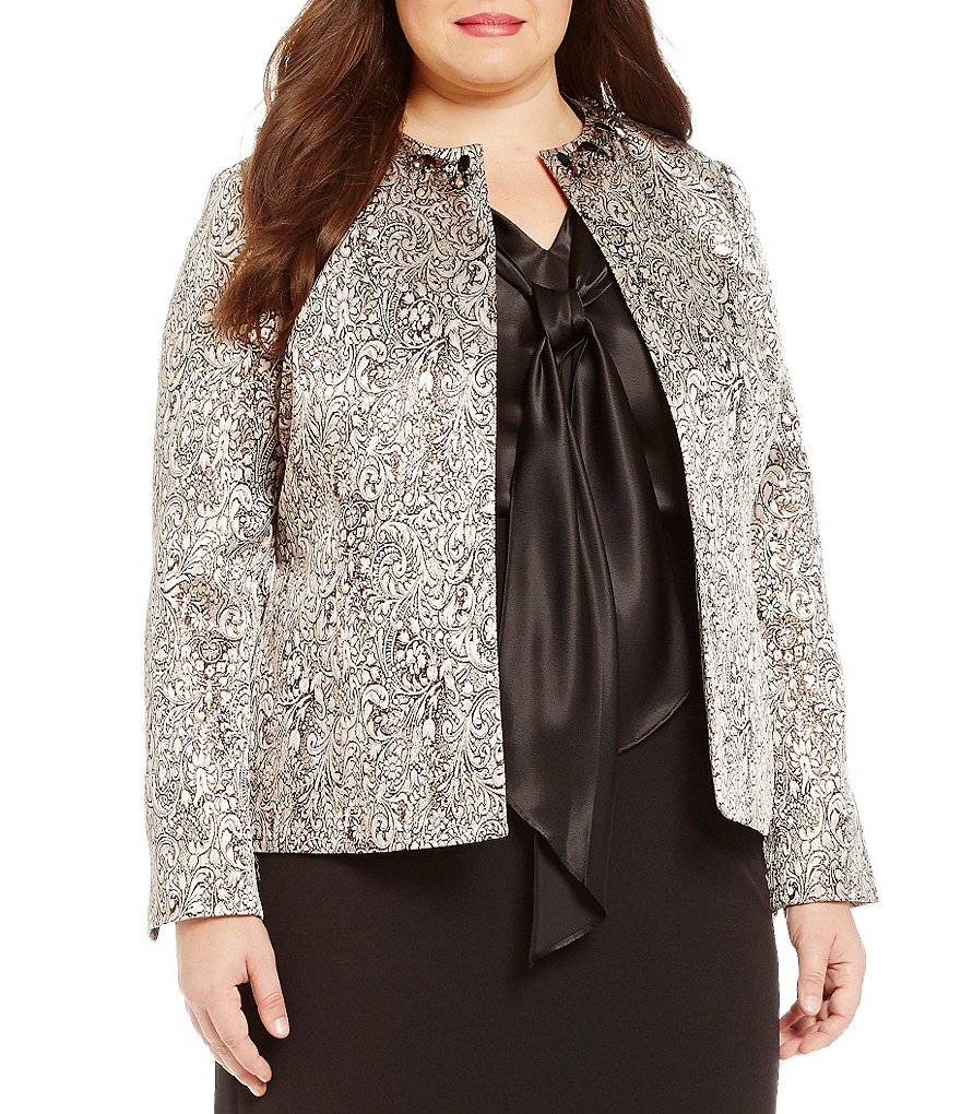 Kasper Plus Open Front Metallic Jacquard Jacket