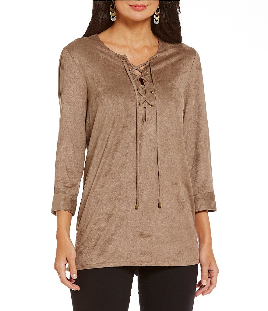 Intro Faux-Suede Long Sleeve Scoop Neck Lace-Up Solid Top