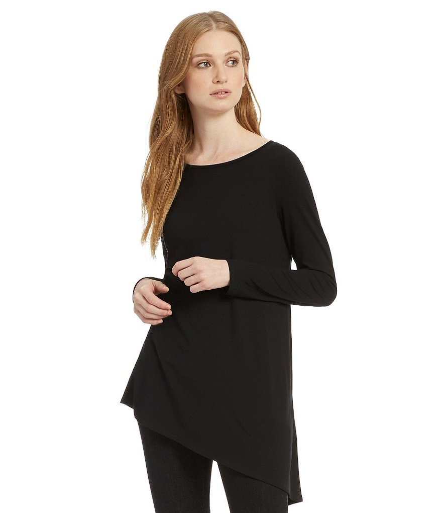 Eileen Fisher Angle Hem Round Neck Side Drape Top