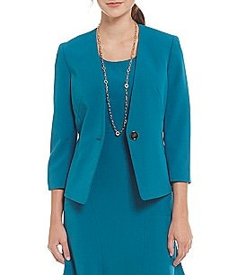 Kasper Stretch Crepe Single-Button Collarless Jacket Image