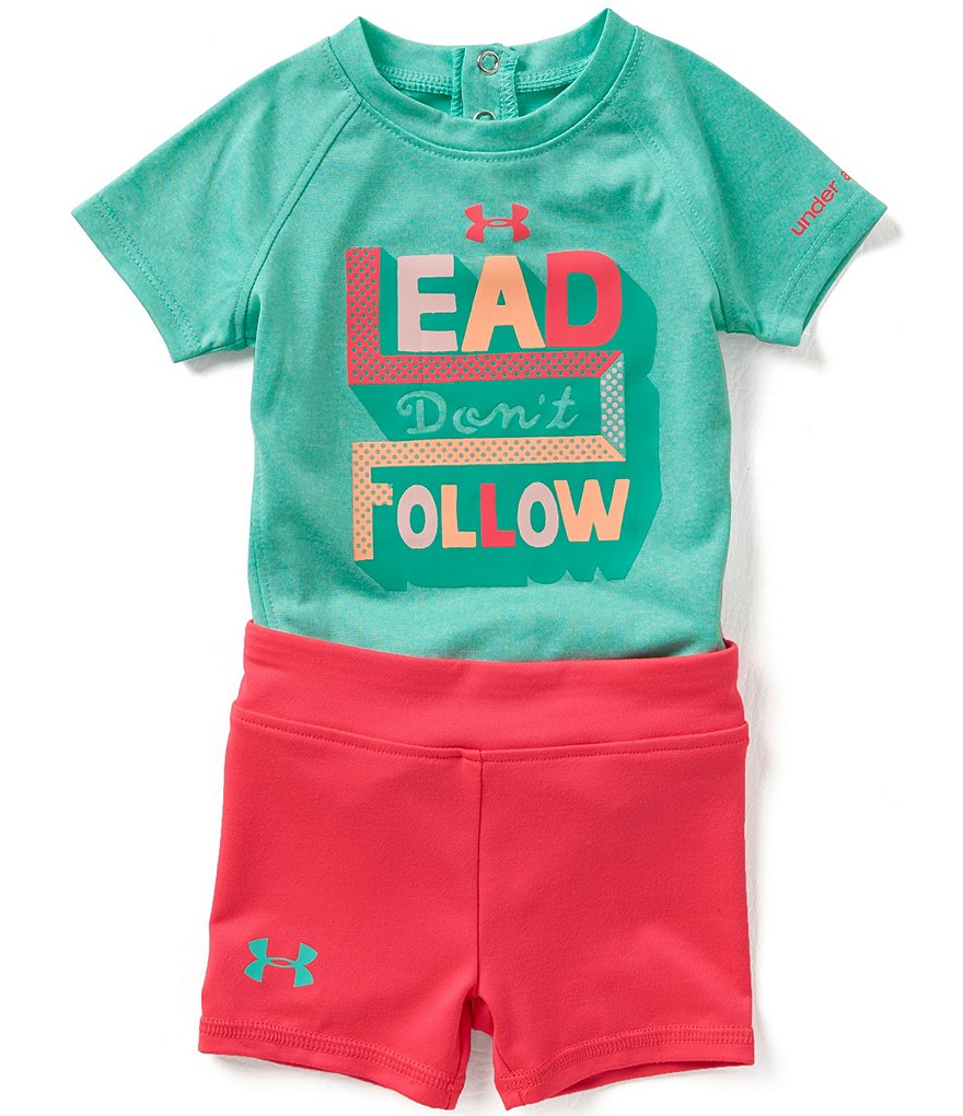Under Armour Baby Girls Newborn-12 Months Lead Follow Bodysuit and Shorts Set