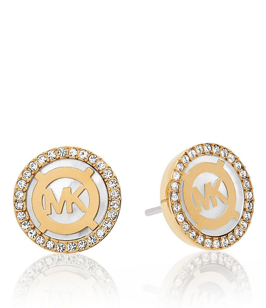 Michael Kors Pavé Mother-of-Pearl Monogram Stud Earrings