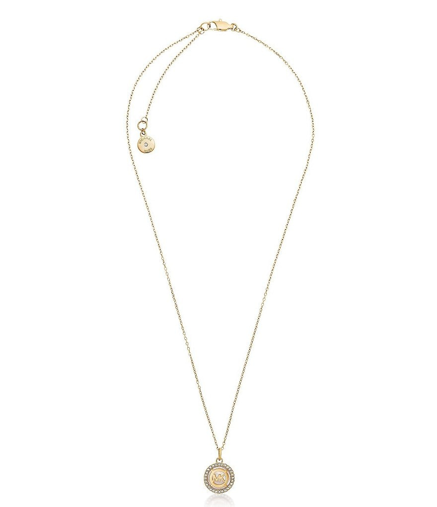 Michael Kors Pavé & Mother-of-Pearl Monogram Pendant Necklace
