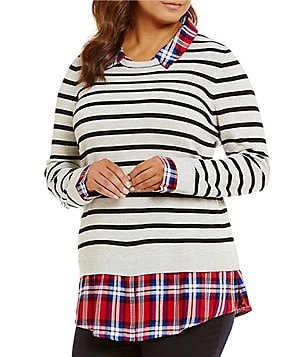Intro Plus Stripe/Plaid Print Long Sleeve Sweater