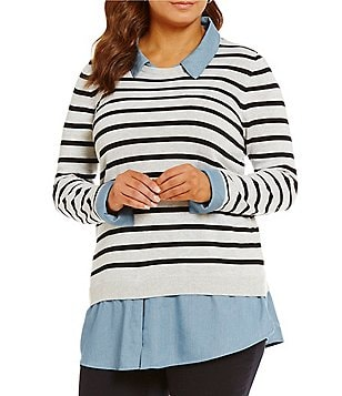 Intro Plus Striped/Indigo Long Sleeve Sweater