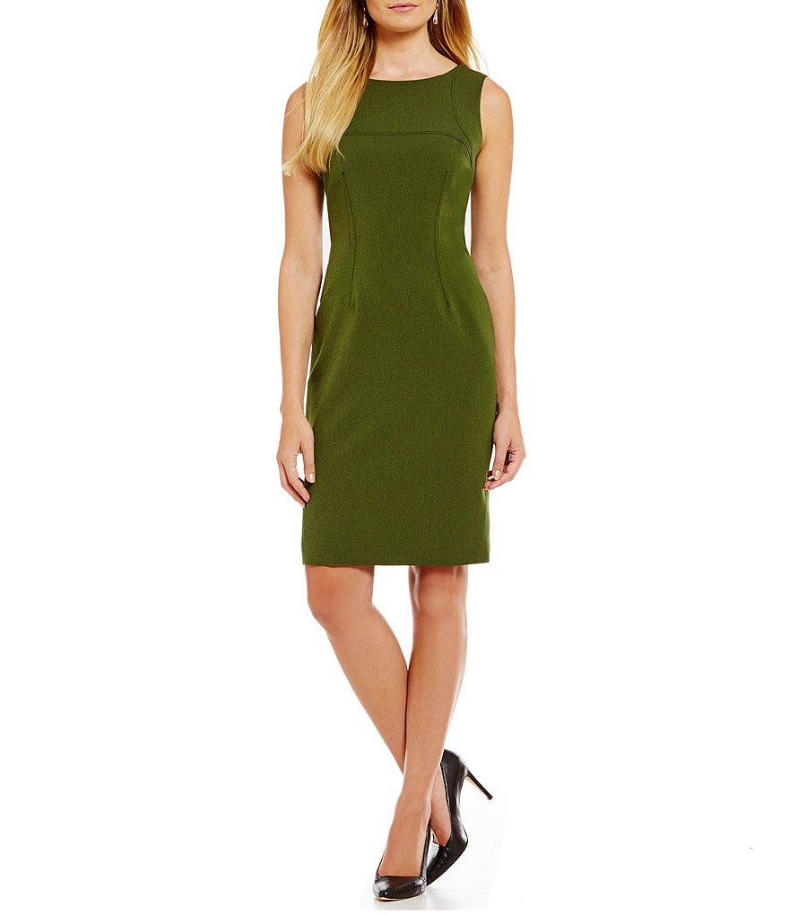Kasper Cross Dye Stretch Crepe Sheath Dress
