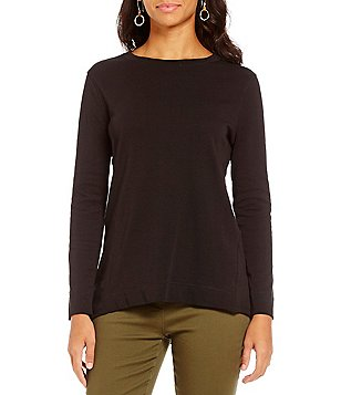 Westbound Petites Crew Neck Long Sleeve Tunic