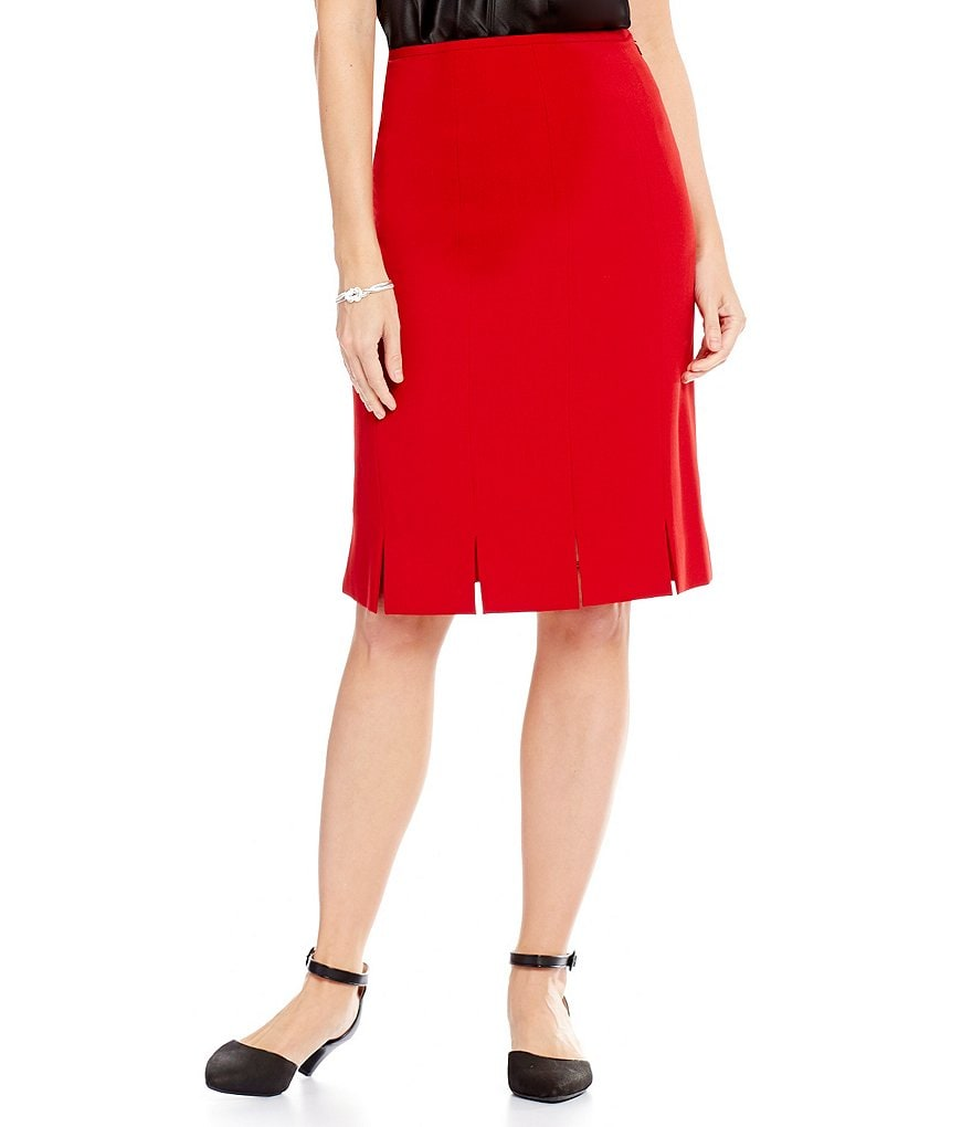 Kasper Stretch Crepe Pleated A-line Skirt