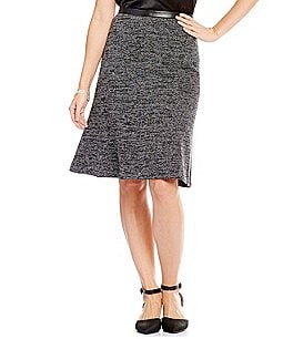 Kasper Stretch Tweed Fit-And-Flare Skirt Image
