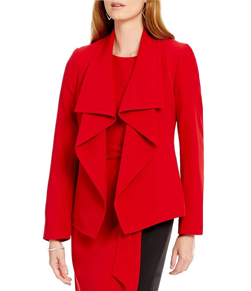 Kasper Draped Shawl-Collar Stretch Crepe Jacket