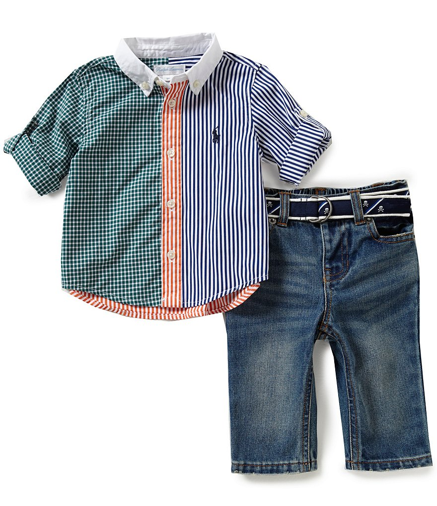 Ralph Lauren Childrenswear Baby Boys 3-24 Months Shirt, Jeans & Belt Set