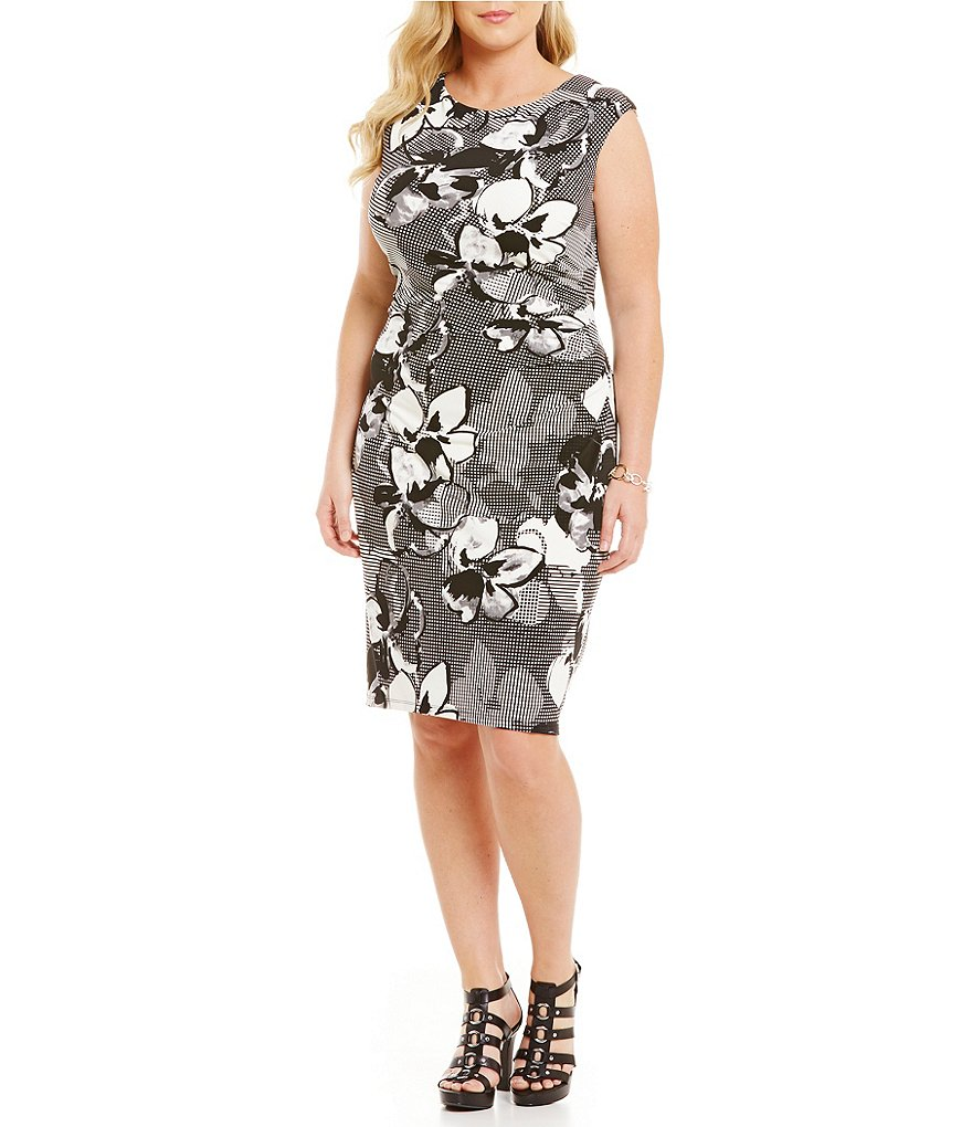 Lauren Ralph Lauren Plus Dresden Floral Matte Jersey Dress
