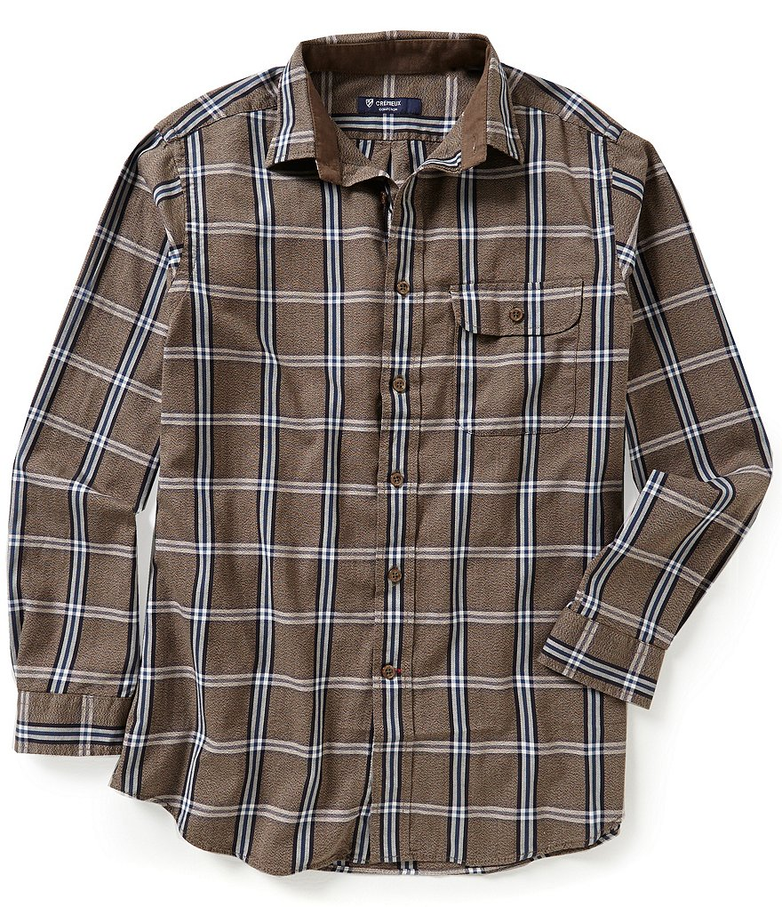 Cremieux Highland Peaks Collection Elbow-Patch Plaid Woven Shirt