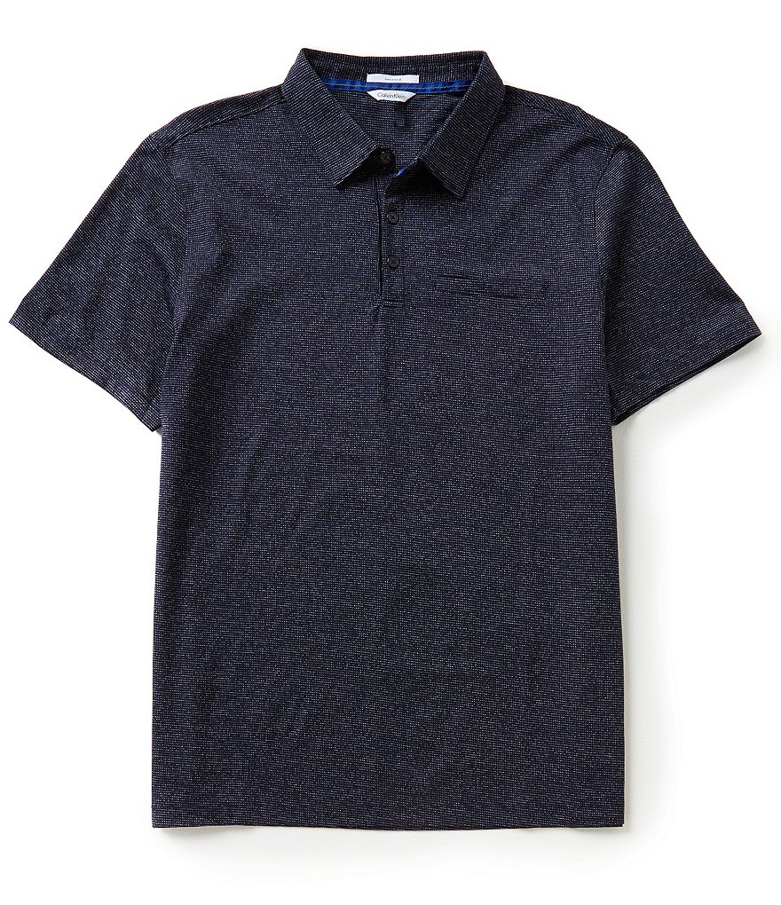 Calvin Klein Short-Sleeve Slim-Fit Mixed-Media Polo Shirt