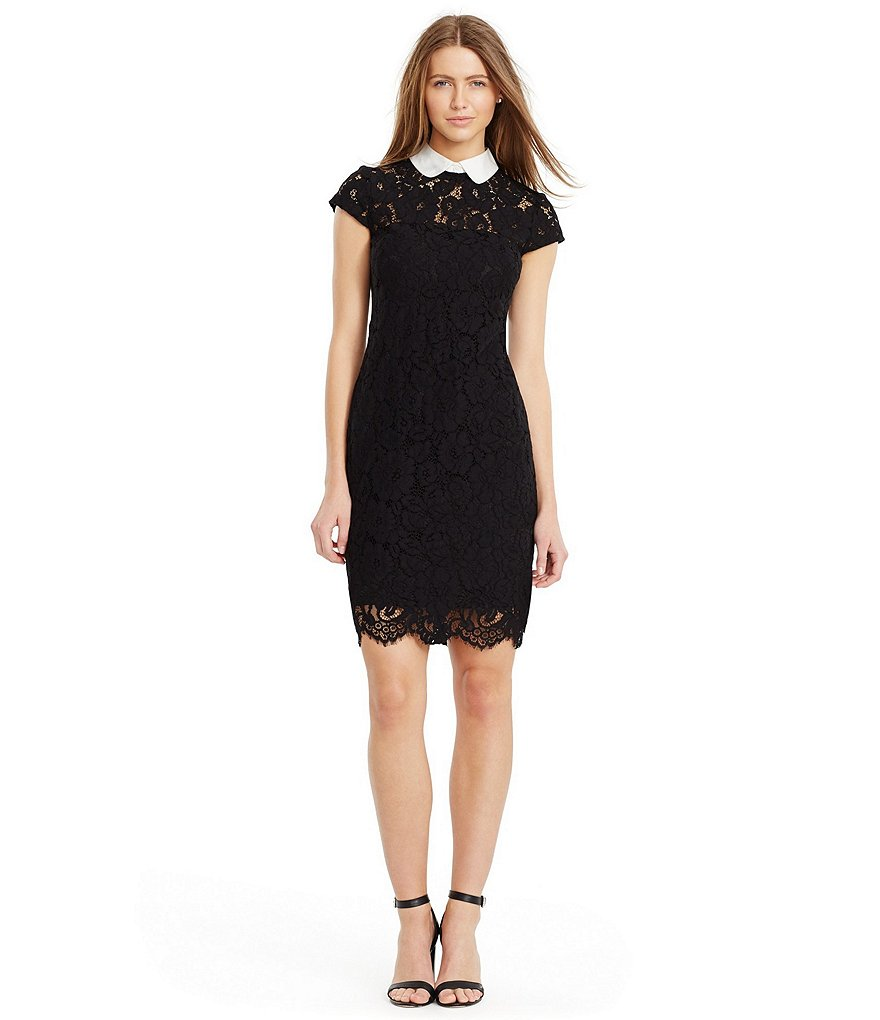 Lauren Ralph Lauren Contrast Collar Cap Sleeve Lace Dress