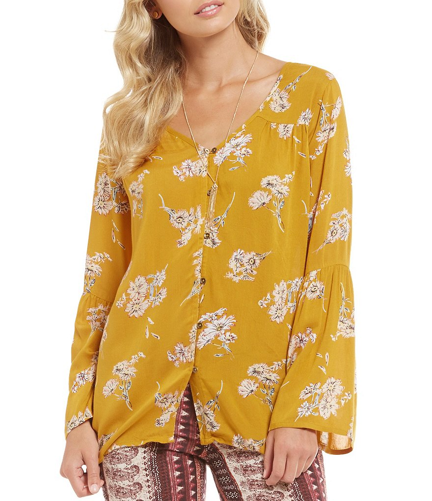 Billabong Forget Me Knot Floral Print Bell Sleeve Top