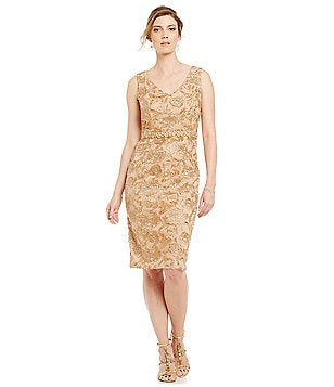 Brianna V-Neck Embroidered Lace Sheath Dress