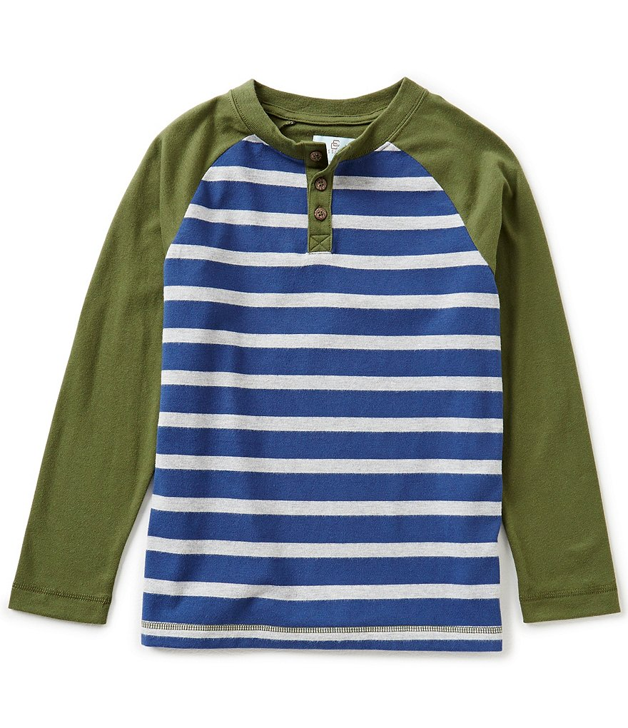 Class Club Big Boys 8-20 Horizontal-Striped Raglan Henley Shirt
