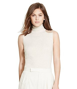 Polo Ralph Lauren Suede-Patch Sleeveless Ribbed Turtleneck