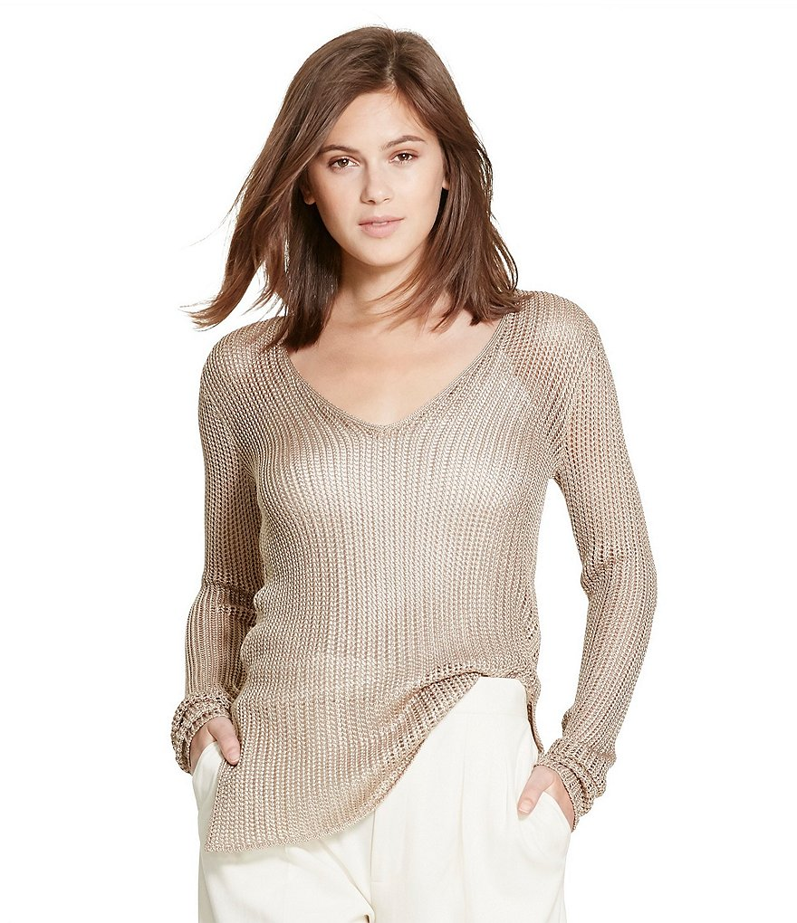 Polo Ralph Lauren Open-Knit Long Sleeve V-Neck Sweater