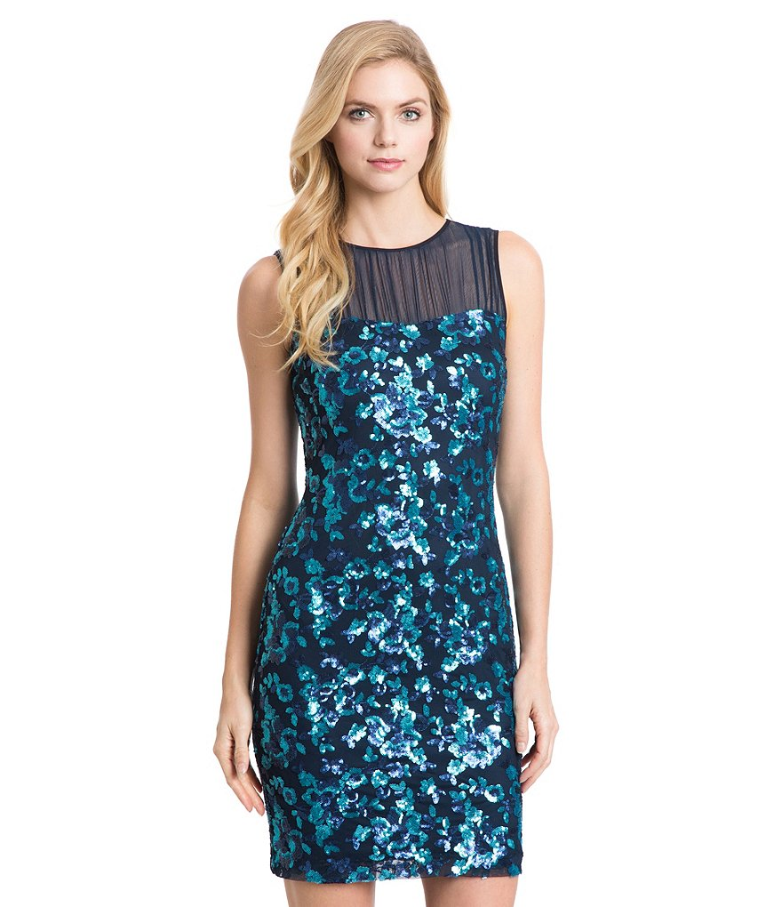 Belle Badgley Mischka Floral Sequins Paris Sheath Dress