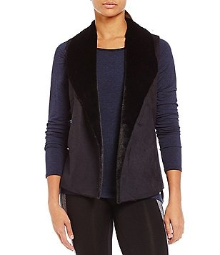 Calvin Klein Performance Faux-Suede & Faux-Fur Sweater Mix Open Vest