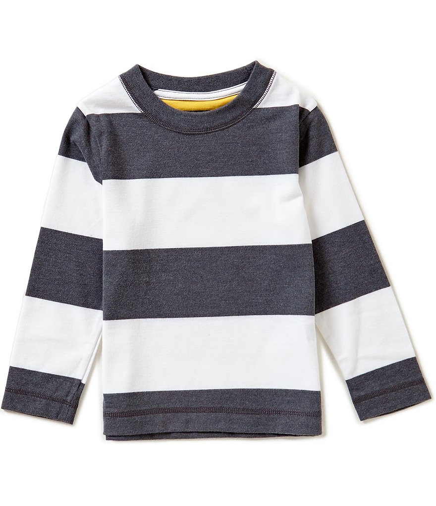 Class Club Little Boys 2T-7 Suede Detailed Horizontal-Striped Crew Neck Shirt