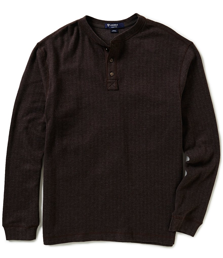 Cremieux Highland Peaks Collection Long-Sleeve Henley Herringbone Shirt