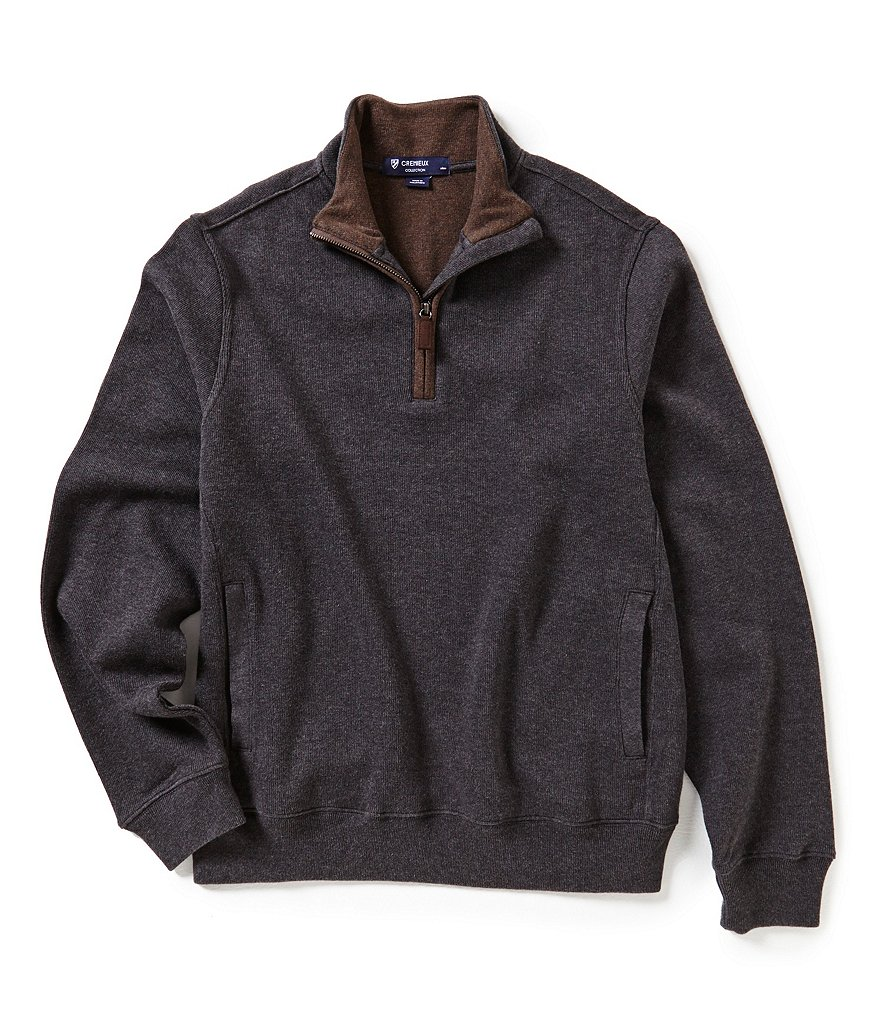 Cremieux Quarter-Zip Mockneck Elbow-Patch Long-Sleeve Pullover