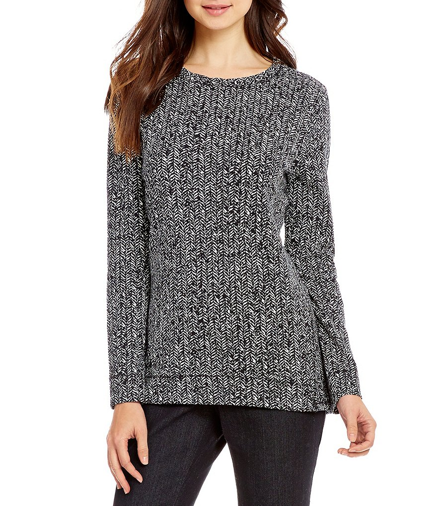 Westbound Herringbone Crew Neck Tunic Top