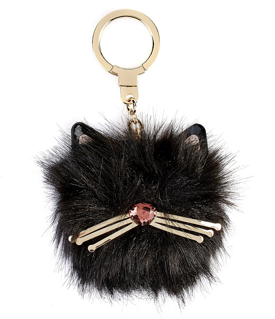 kate spade new york Cat Pouf Faux-Fur Key Fob
