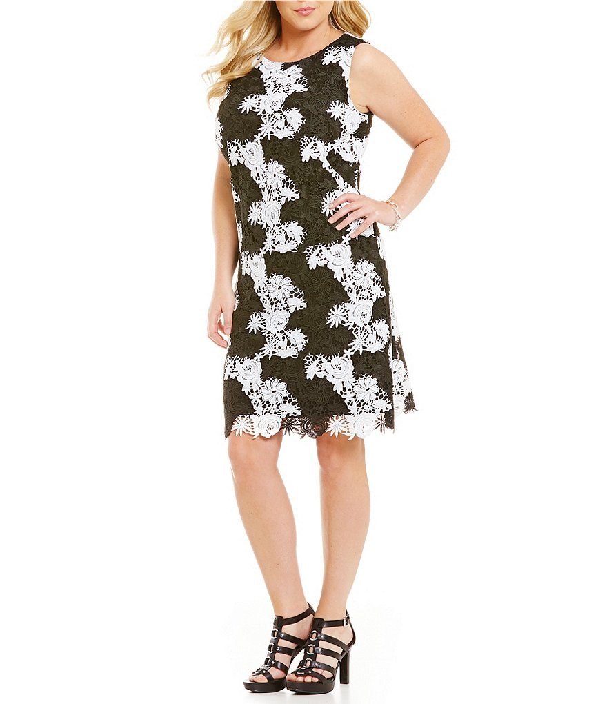 Lauren Ralph Lauren Plus Antwerp Floral Crochet Border Dress