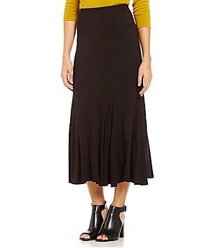 Multiples Multi Panel Godet Solid Pull-On Skirt