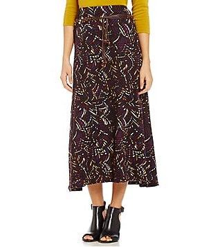 Multiples Pull-On Brush Print Tie Belt A-Line Skirt